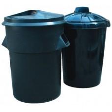 80 Litre Black Economy Plastic Dustbin W/Lid