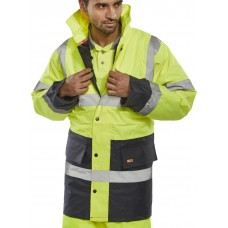 Two Tone Hi-Vis Traffic Jacket Yellow / Navy