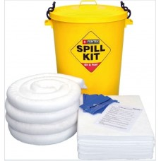 90 Litre Oil and Fuel Spill Kit in a Yellow Drum